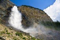 Takakkaw Falls splashing water in Yoho National Park, British Columbia, Canada — Stock Photo