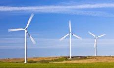 Wind energy turbines with motion blurred blades, Saint Leon, Manitoba, Canada — Stock Photo
