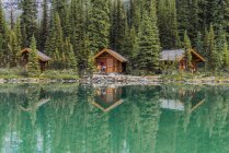 Cabins of Lake Ohara Lodge in Yoho National Park, British Columbia, Canada — стокове фото