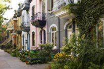 Typical residential street in Latin Quarter of Montreal, Quebec, Canada. — Stock Photo