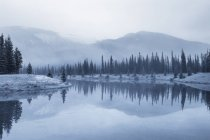 Forget-Me-Not Pond in wintry landscape of Elbow Valley, Kananaskis Country, Alberta, Canada — Stock Photo