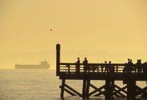 Personnes pêchant au large des quais par Burrard Inlet avec un cargo en arrière-plan, West Vancouver, Colombie-Britannique, Canada — Photo de stock