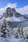 Свежий снег на Санберст пик и Cerulean озеро в парк Маунт Ассинибойн, Канада — стоковое фото
