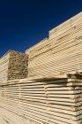 Gestapelte Holz Trocknen im Holzlager von Sägewerk — Stockfoto