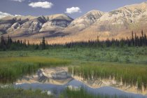 Hawk ridge mountains reflecting in lake water of Kootenay National Park, British Columbia, Canada — Stock Photo
