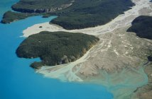 Aerial view of Llewellyn Glacier meltwater into Atlin Lake, Atlin Provincial Park, British Columbia, Canada. — Stock Photo