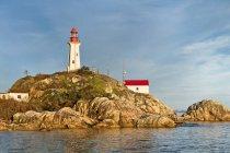 Sheringham Point lighthouse in twilight on dusk at Shirley, British Columbia, Canada — Stock Photo
