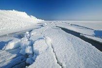 Ghiaccio lavato scorre lungo il lago ghiacciato Winnipeg, Manitoba, Canada — Foto stock