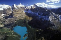 Aerial view of Lake Ohara in mountains of Yoho Provincial Park, British Columbia, Canada. — Stock Photo
