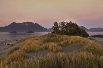 Островок Китобойное судно с прибрежных гор острова Ванкувер в сумерках, Клейокуот, Британская Колумбия, Канада — стоковое фото