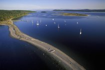 Aerial view of yachts at Sidney Spit of Vancouver Island, British Columbia, Canada. — Stock Photo