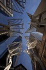 Low angle view of steel trees sculpture in downtown of Calgary, Alberta, Canada — Stock Photo