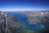 Aerial view of Chilko Lake in mountains of Tsylos Provincial Park, British Columbia, Canada. — Stock Photo