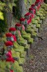 Statues de Jizo ornées au gouffre de Kanmangafuchi à Nikko, Japon — Photo de stock