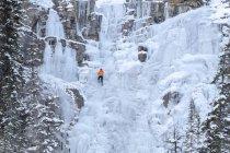 Unrecognizable ice climber on frozen Tangle Falls, Jasper National Park, Alberta, Canada — Stock Photo