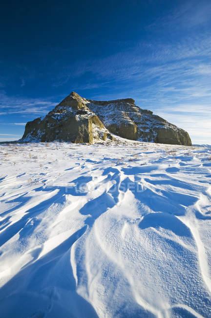 Зимовий пейзаж з замку Butte рок у великий брудно Badlands, Саскачеван, Канада — стокове фото