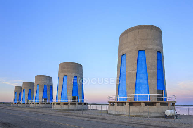 Hydroelectric power turbines at Gardiner Dam, Lake Diefenbaker, Saskatchewan, Canada — Stock Photo