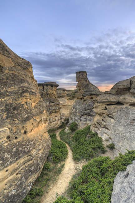 Sentiero che si snoda attraverso hoodoos al crepuscolo, Badlands, Writing-on-Stone Provincial Park, Alberta, Canada — Foto stock