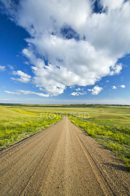 Rural scene of gravel road through Grasslands National Park, Saskatchewan, Canada — Stock Photo