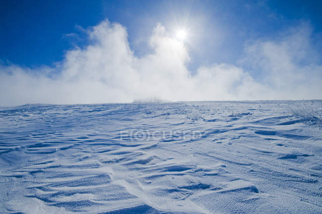 Snow drifts caused by wind in Southern Saskatchewan, Canada — Stock Photo