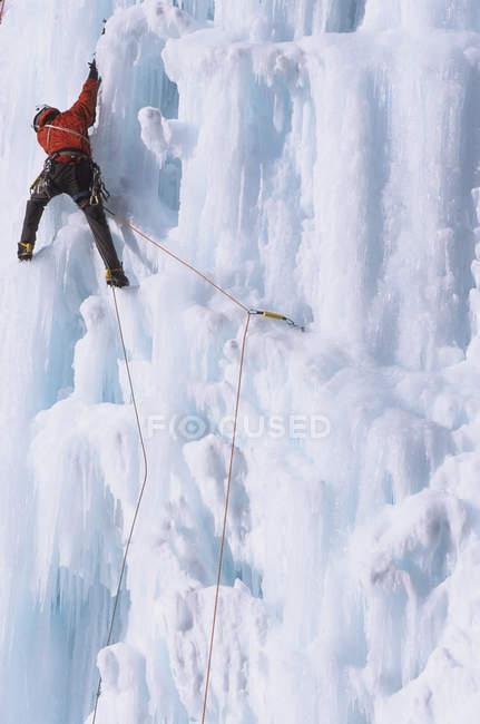 Homem escalador de gelo ascendente Malignant Mushroom, Ghost River, Alberta, Canadá — Fotografia de Stock
