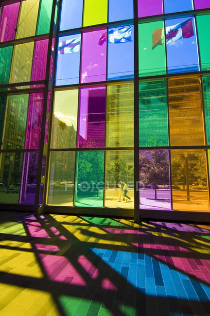 Colored glass walls of Palais de Congres de Montreal, Montreal, Quebec, Canada. — Stock Photo