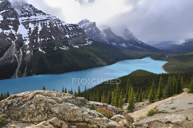 Paisaje de montaña con agua turquesa del lago Peyto, Parque Nacional Banff, Alberta, Canadá - foto de stock