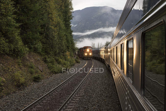 Passenger train meeting freight train in mountains. — Stock Photo