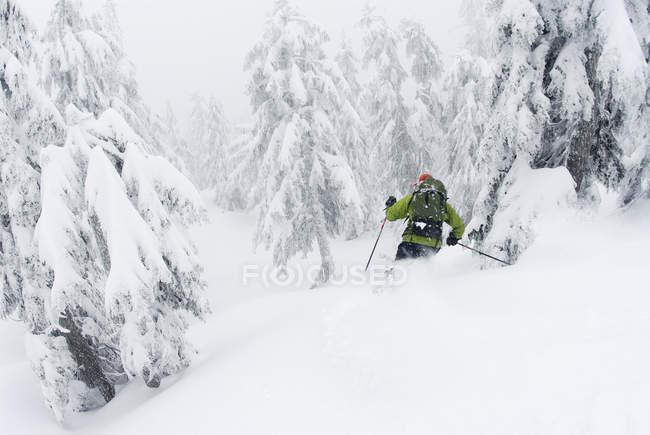 Ski d'homme dans le mont Hollyburn, cypress Bowl, Vancouver occidental, Colombie-Britannique, Canada. — Photo de stock