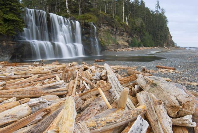 Западное побережье тропы и водопады в национальном парке Тихоокеанского бассейна, Остров Ванкувер, Британская Колумбия, Канада Tsusiat. — стоковое фото