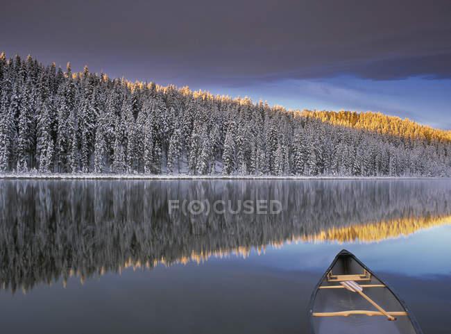Каноэ на озере Уинчелл с заснеженными деревьями в Альберте, Канада . — стоковое фото