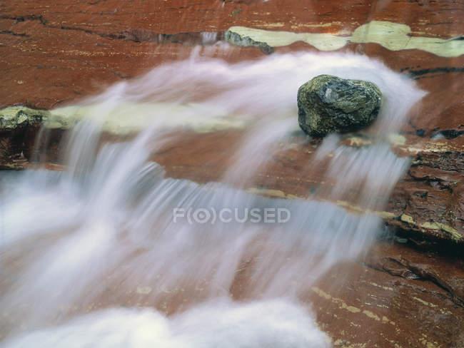 Primer plano del agua que fluye en Red Rock Creek, Waterton Lakes National Park, Alberta, Canadá . - foto de stock