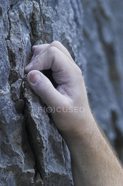 Rock climbing hand detail, close-up — Stock Photo