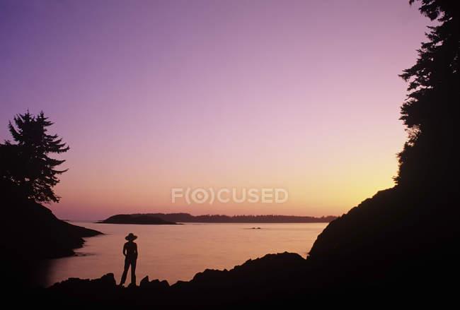 Силуэт лица, наслаждаясь закатом на пляже Маккензи, Остров Ванкувер, Британская Колумбия, Канада. — стоковое фото