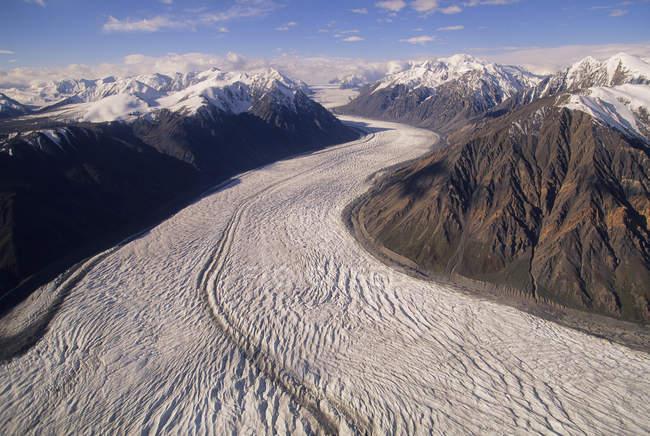 Vista aérea da geleira no Parque Nacional de Kluane, Yukon, Canadá. — Fotografia de Stock