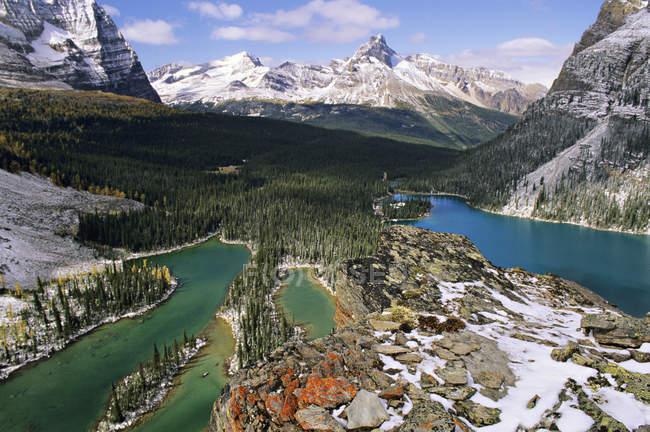 Vista aérea de lagos y líquenes y nieve cubiertos de la meseta de Opabin, Parque Nacional Yoho, Columbia Británica, Canadá - foto de stock