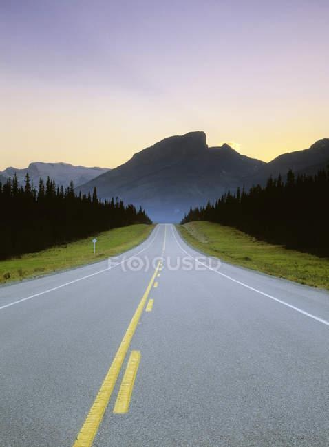 Autostrada attraverso la foresta vicino Kootenay Plains, Alberta, Canadian Rockies, Canada . — Foto stock