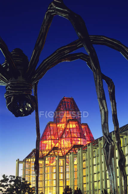 Vista de baixo ângulo da Galeria Nacional do Canadá e escultura de aranha gigante à noite, Ottawa, Ontário, Canadá — Fotografia de Stock