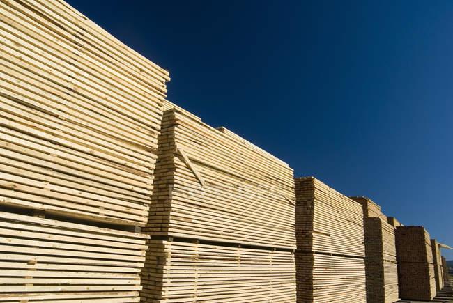 Séchage du bois empilé dans la cour à bois de la scierie . — Photo de stock