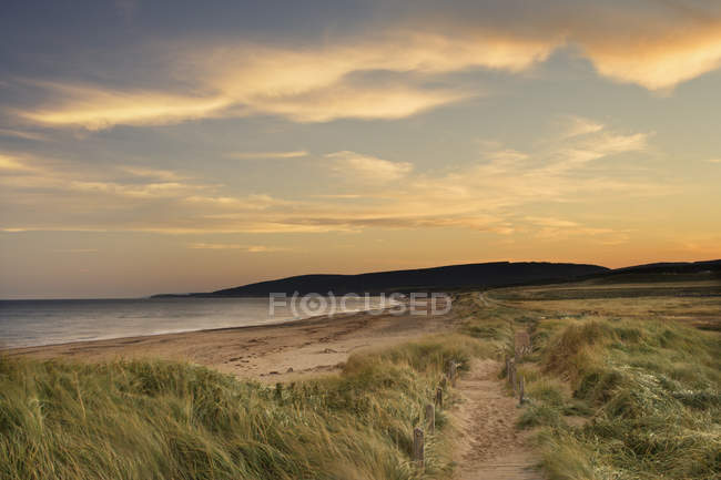 Gramínea praia e do calçadão, Inverness, ilha Cape Breton, Nova Scotia, Canadá. — Fotografia de Stock