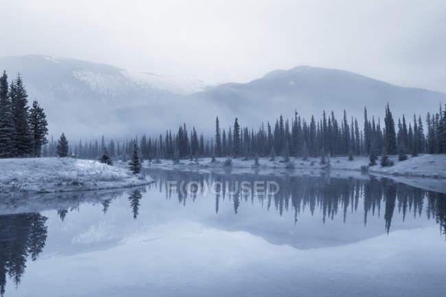 Forget-Me-Not Pond nel paesaggio invernale della valle del gomito, Kananaskis Country, Alberta, Canada — Foto stock