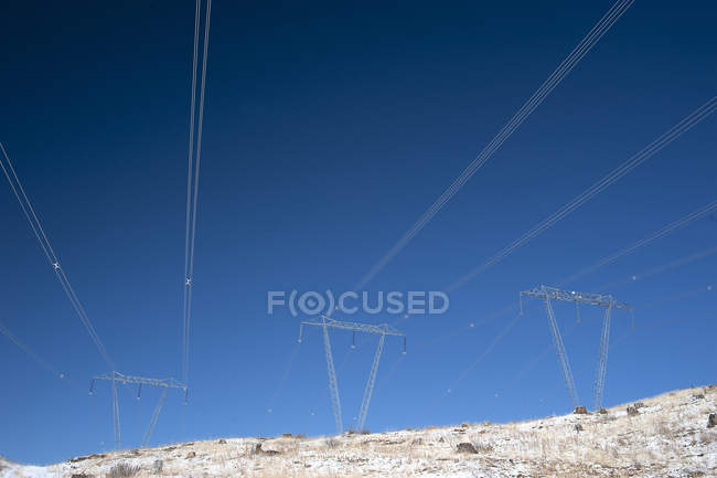 High voltage transmission lines at west of Clinton, British Columbia, Canada — Stock Photo