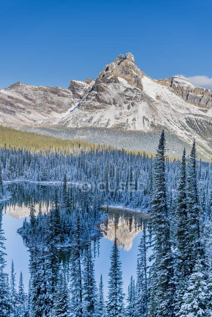 Cathedral Mountain reflecting in Mary Lake in Yoho National Park, British Columbia, Canada — Stock Photo