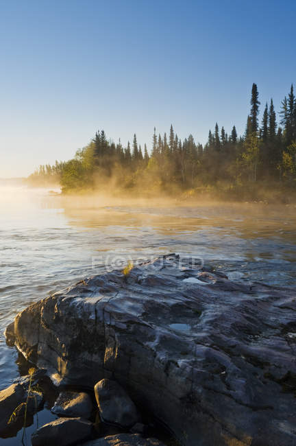 Mist over forest river in Clearwater River Provincial Park