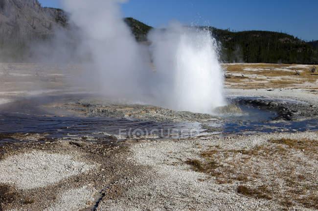 Eruption of Jewel Geyser, Biscuit Geyser Basin, Yellowstone National Park, Wyoming, USA — Stock Photo
