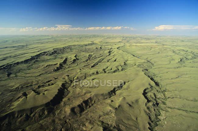 Аэрофотоснимок лугопастбищные угодья национального парка провинции Саскачеван, Канада. — стоковое фото