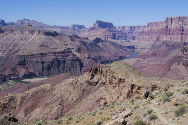 Randonneur mâle au sentier de Tanner par le fleuve de Colorado, Grand Canyon, Arizona, Etats-Unis — Photo de stock