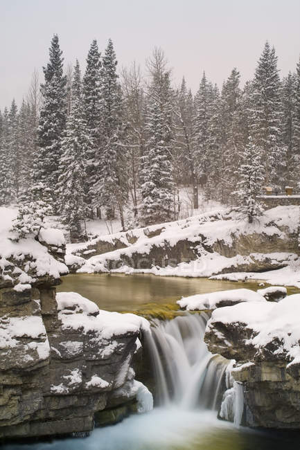 Elbow Falls in winter, Elbow Falls Provincial Park, Kananaskis Country, Alberta, Canada — Stock Photo