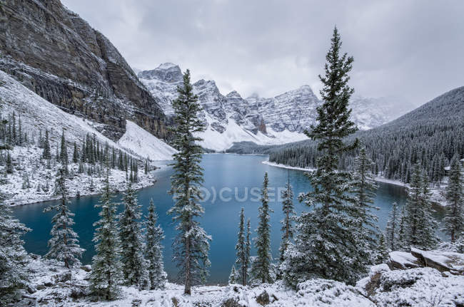 Moraine Lake and Valley of Ten Peaks in winter, Banff National Park, Alberta, Canada. — Stock Photo