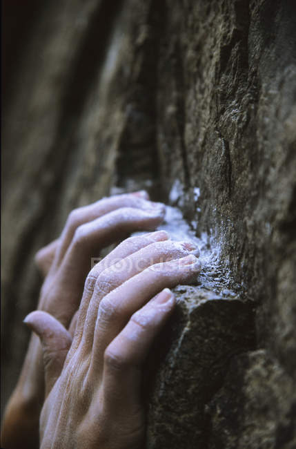 Close-up of chalked hands of climber hanging to ledge — Stock Photo